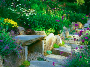 Earth Element - Stone Bench. Photo: Pinterest/DIY Network